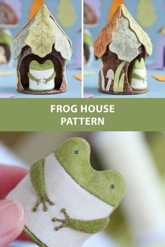 Sewing pattern for a tree stump house and a tiny frog. It can be used as a toy, nursery decoror or Christmas ornament. #etsy #pattern #sewingpattern #pdfpattern #sew #sewing #sewingproject #diy #christmasornament #treestumphouse #toy #house #fairyhouse