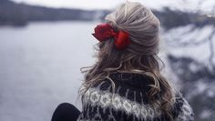nordic sweater and a cute red bow