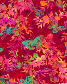 Aflutter - Butterfly & Dragonfly Oasis - Quilt Fabrics from www.eQuilter.com