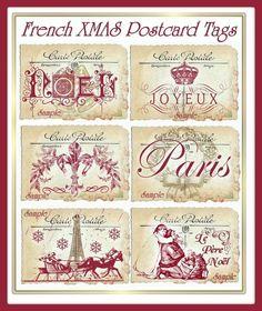 Flea Market Chic French Christmas Postcard por SenecaPondCrafts, $2.50