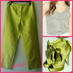 {3 for $41} Chartreuse Ankle Pants Gorgeous color! These can be worn casually with flats or dressed up with heels. Smoke/pet-free home. ✈✈ Fast Shipping ✈✈  Thanks for peeking through my closet! Sigrid Olsen Pants Ankle & Cropped