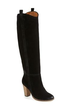 enamored with these black suede tall chunky heel boots