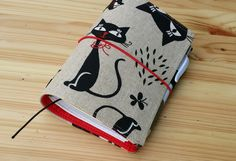 Linen Fauxdori travellers notebook Black Cat Field note cover