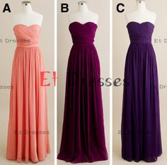 Sweetheart sleeveless floor-length chiffon in different color ,bridesmaid dress