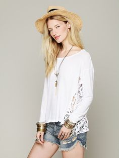Free People Boxy Pieced Lace Pullover, $98.00