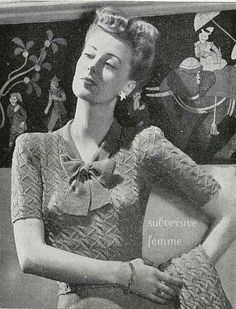 1940s Bow Jumper and Cardigan from Stitchcraft vintage