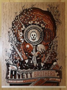 2016 The Avett Brothers - Little Rock Variant Concert Poster by Guy Burwell