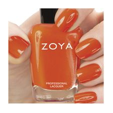 Zoya Nail Polish in Thandie can be best described as a full-coverage, citrus orange cream.