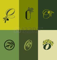 Olive Tree Branch Set Of Labels - Vector Illustration Royalty Free ...