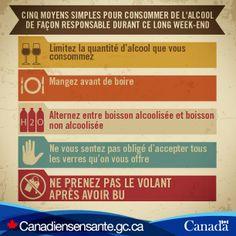 Les 5 moyens pour boire de manière responsable :  http://canadiensensante.gc.ca/health-sante/addiction/alcohol-alcool-fra.php?utm_source=Pinterest_HCdns&utm_medium=social&utm_content=Dec15_Alcool_FR&utm_campaign=social_media_13