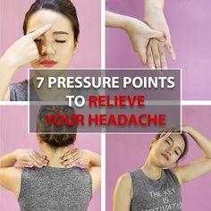 7 Pressure Points To Relieve Your Headache Hand Pressure Points, Pressure Points For Headaches, Massage Pressure Points, Migraine Relief, Pain Relief, Health Tips, Health Care, Reflexology Massage, Fibromyalgia