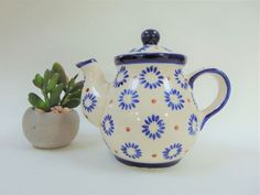 Heise Teapot Small Two Cup 350ml Blue and White Original Bunzlau Germany Ceramic