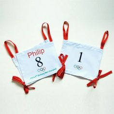 DIY Athlete Bibs- Maybe made out of paper for the day of the games?  What do you think @Krista Milburn