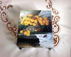 """Купить Шкатулка """"Солнечные искорки"""" - разноцветный, одуванчики, насекомое, бабочка, шкатулка, шкатулка для украшений"""