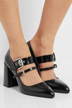 Heel measures approximately 85mm/ 3.5 inches Black glossed-leather Buckle-fastening straps Made in Italy