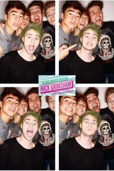 Calum, Ashton, Michael and half of Luke's face with Nick Grimshaw