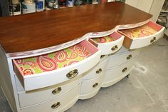 Dresser buffet. I have the perfect dresser for this. A little paint and attach an ikea butcher block counter. Maybe some moulding around the bottom to make it look like a built-in