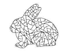 Rabbit Coloring Page Doodle Printable Bunny Digi Stamp