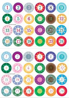 Adventskalender Zahlen zum Ausdrucken 1 bis 24 bunte Zahlen bunte Kreise www.meinesvenja.de