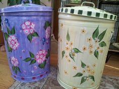Hand painted 20 gallon trash cans  krystasinthepointe on ETSY
