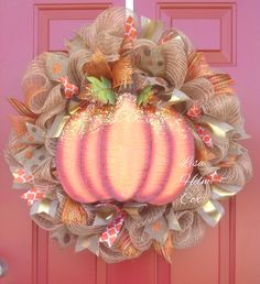Fall deco mesh wreath with pumpkin with gold accents