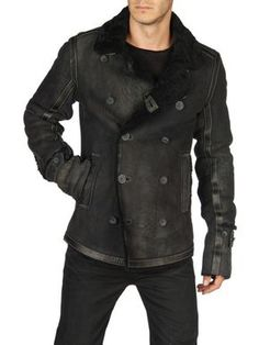 Sheepskin black leather jacket by Diesel