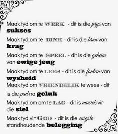 Maak tyd Afrikaanse Quotes, Minute To Win It, The Secret Book, Hope Love, Study Notes, Bible Verses Quotes, Inspirational Thoughts, Deep Thoughts, Beautiful Words