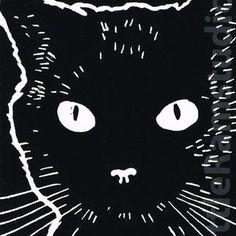 Black Cat - Original Hand Pulled Linocut Print £18.00