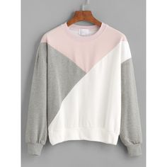Color Block Drop Shouder Sweatshirt (450 RUB) ❤ liked on Polyvore featuring tops, hoodies, sweatshirts, sweaters, shirts, grey, spandex long sleeve shirt, grey long sleeve shirt, long sleeve tops and grey shirt