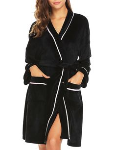 Women s Bathrobe Fleece Kimono Bath Robes - Thick-black - CH186TXRUNQ c2807433a