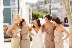 Bridesmaids in shades of #beige and #brown // photo by Kate Harrison