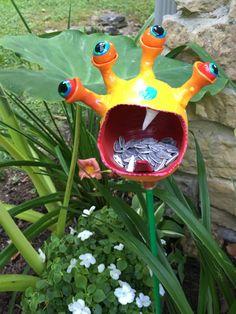 Monster Alien BirdFeeder Bird House Garden by PondScumCeramics