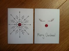 button craft christmas cards - use rhinestones instead? Cute reindeer drawing idea for a sign - Crafting Intensity Christmas Card Crafts, Homemade Christmas Cards, Homemade Cards, Handmade Christmas, Holiday Cards, Christmas Crafts, Simple Christmas, Button Christmas Cards, Christmas Lights