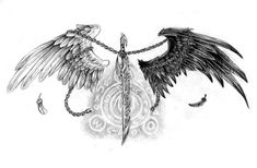 Magic Sword Wings Tattoo by Nalavara on DeviantArt Wing Tattoo – Fashion Tattoos Mutterschaft Tattoos, Bild Tattoos, Feather Tattoos, Trendy Tattoos, Tattoo Drawings, Body Art Tattoos, Sleeve Tattoos, Tattoos Skull, Tattoo Bird