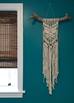 Beaded Butterfly Macrame Wall Hanging on by beeWEAVEitorKNOT