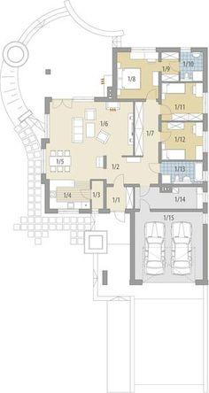 Rzut FA Maja CE Duplex House Plans, House Layout Plans, Dream House Plans, House Layouts, House Floor Plans, Modern Kitchen Design, Modern House Design, Bungalow House Design, Old Farm Houses