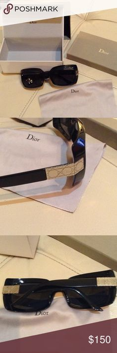 Dior prescription sunglasses Dior rx sunglasses with box, case and cleaning cloth. They have prescription bifocal polarized lenses. Don't know rx prescription but bottom stronger than top Dior Accessories Sunglasses