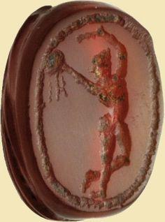 Figura maschile danzante Periodo etrusco Corniola, mm 12x9x8. Tipo D. Dancing male figure Etruscan period Cornelian, mm 12x9x8. T - ACR Auctions