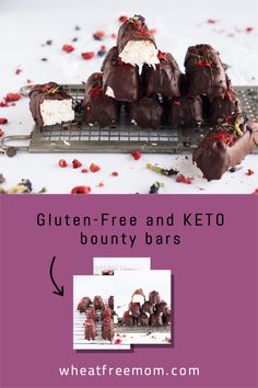 These gluten-free and keto bounty bars are easy to make and are a low carb no-bake treat. Keep a batch of these healthy chocolate bars in your freezer. Stevia Chocolate, Unsweetened Chocolate, Chocolate Bars, Healthy Chocolate, Melting Chocolate, Gluten Free Sweets, Gluten Free Baking, Freeze Dried Raspberries, No Bake Treats