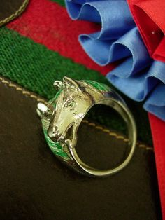 Ultra RARE Vintage Gucci Horse Stirrup Ring Silver 925 Enamel Couture Jewelry | eBay