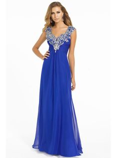 A-line V-neck Sleeveless Chiffon Prom Dresses With Beaded #BK104