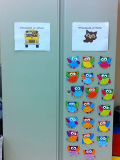 """When the students come into the room in the mornings, they move their owl to the """"At School"""" column so it is easier to take attendance."""