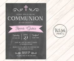 Chalkboard Communion Invitation Chalkboard Lace by PixieInkPrints