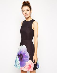Image 1 of ASOS Skater Dress with A- Line in Bonded Floral Placement Print