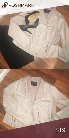 Forever 21 Jacket Really nice light grey moto jacket. Zip up front with two zip up pockets. Like New!!! Forever 21 Jackets & Coats