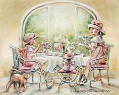 Tea party girls Teatime  Big Sister Little by LaurieShanholtzer, $18.00