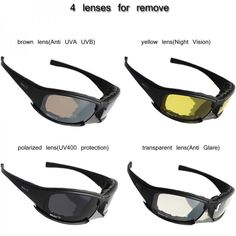 e2c8d7261f8 BULLET-PROOF ARMY POLARIZED SUNGLASSES 4 LENS HUNTING SHOOTING AIRSOFT  EYEWEAR MOTORCYCLE GLASSES