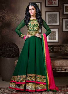 Shraddha Green and Pink Floor Length Anarkali Suit