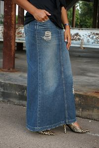 Ginger Distressed Long Denim Skirt
