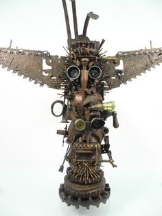 """Bipolar"" Rotating Totem Pole, found object assemblage by Assemblique™"